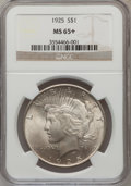 Peace Dollars, 1925 $1 MS65+ NGC. NGC Census: (9434/1651). PCGS Population(6691/1507). Mintage: 10,198,000. Numismedia Wsl. Price for pro...