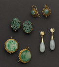 Estate Jewelry:Other , Four Pair Of Jade & Gold Earrings . ... (Total: 4 Items)