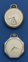 Timepieces:Pocket (post 1900), Illinois 21 Jewel and Longines Fancy Dial Runners. ... (Total: 2 Items)