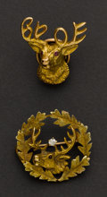 Estate Jewelry:Brooches - Pins, Two Elk's Gold Pins. ... (Total: 2 Items)
