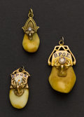 Estate Jewelry:Other , Three Gold Cap Elk's Teeth Fob's. ... (Total: 3 Items)