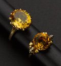 Estate Jewelry:Rings, Two Citrine Gold Rings. ... (Total: 2 Items)