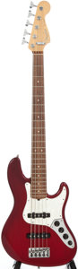 Musical Instruments:Bass Guitars, 1996 Fender Jazz Bass Tran Red Burst Electric Bass Guitar, #N6192626....