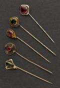 Estate Jewelry:Stick Pins and Hat Pins, Five Early Gold Stick Pins. ... (Total: 5 Items)