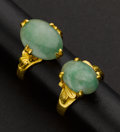 Estate Jewelry:Rings, 20K Gold Jade Rings. ...