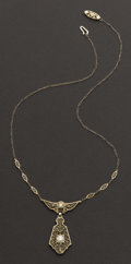 Estate Jewelry:Necklaces, Early White Gold Filigree Necklace . ...