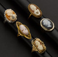 Estate Jewelry:Rings, Five Early Gold Cameo Rings. ... (Total: 5 Items)