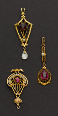 Estate Jewelry:Pendants and Lockets, Three Antique Gold & Ruby Pendants. ... (Total: 3 Items)