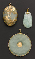 Estate Jewelry:Pendants and Lockets, Three Jade & Gold Pendants. ... (Total: 3 Items)