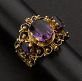 Estate Jewelry:Rings, Fancy Amethyst Gold Ring. ...