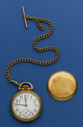 Timepieces:Pocket (post 1900), Waltham 21 Jewel Crescent St., Train Case & Chain. ...