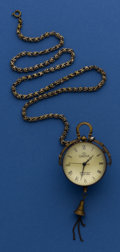 Timepieces:Other , Brass & Glass Ball Watch With Chain. ...