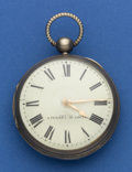 Timepieces:Pocket (pre 1900) , A. Perret Interesting Running Silver Verge Fusee. ...
