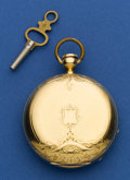 Timepieces:Pocket (pre 1900) , Ernest Duval Geneva 18k Gold 43 mm Key Wind, circa 1865. ...