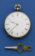 Timepieces:Pocket (pre 1900) , Swiss 18k Gold & Enamel Key Wind. ...