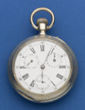 Timepieces:Pocket (pre 1900) , Swiss Oversize Silver Calendar Watch. ...