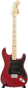 Musical Instruments:Electric Guitars, 1982 Fender Statocaster Hardtail Trans Red Solid Body ElectricGuitar, #S952357....