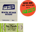 Music Memorabilia:Tickets, Sex Pistols Longhorn Ballroom Dallas Ticket and Pass Group (StoneCity Attractions, 1978).... (Total: 3 Items)