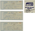 Music Memorabilia:Memorabilia, Sex Pistols Signed Receipt and Pass Group (Warner Brothers, 1978).... (Total: 3 Items)