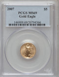Modern Bullion Coins, 2007 $5 Tenth-Ounce Gold Eagle MS69 PCGS. PCGS Population (246/24).NGC Census: (0/0). Numismedia Wsl. Price for problem f...