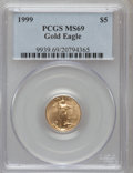 Modern Bullion Coins: , 1999 G$5 Tenth-Ounce Gold Eagle MS69 PCGS. PCGS Population(5591/138). NGC Census: (7035/1373). Numismedia Wsl. Price for ...