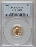 Modern Bullion Coins, 2007 $5 Tenth-Ounce Gold Eagle MS70 PCGS. PCGS Population (24). NGCCensus: (0). Numismedia Wsl. Price for problem free NG...