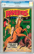 Golden Age (1938-1955):War, Rangers Comics #43 (Fiction House, 1948) CGC FN/VF 7.0 Cream tooff-white pages....