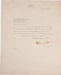 Movie/TV Memorabilia:Memorabilia, A Harry Houdini Signed Letter to Sir Arthur Conan Doyle, 1922....