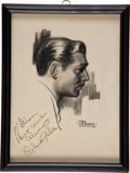 Movie/TV Memorabilia:Autographs and Signed Items, A Clark Gable Signed Sketch....