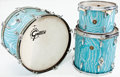 Musical Instruments:Drums & Percussion, 1960s Gretsch Blue Flame 3-Piece Drum Set...
