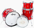 Musical Instruments:Drums & Percussion, 1966 Ludwig Red Sparkle 4-Piece Drum Set...