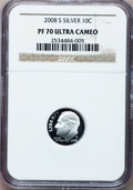 Proof Roosevelt Dimes, (2)2008-S 10C Silver Proof PR70 Ultra Cameo NGC.... (Total: 2coins)