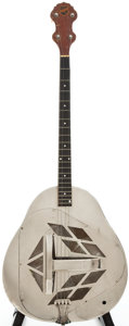 Musical Instruments:Resonator Guitars, 1928 National Tricone Tenor Nickel Resonator Guitar, #400....