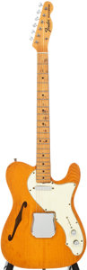 Musical Instruments:Electric Guitars, 1968 Fender Telecaster Thinline Natural Semi-Hollow Body ElectricGuitar, #218879....