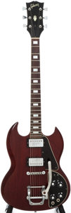 Musical Instruments:Electric Guitars, 1972 Gibson SG Deluxe Cherry Solid Body Electric Guitar, Serial #613515...