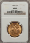 Liberty Eagles: , 1883 $10 MS63 NGC. NGC Census: (99/5). PCGS Population (73/2).Mintage: 208,740. Numismedia Wsl. Price for problem free NGC...