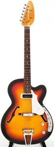 Musical Instruments:Electric Guitars, Circa Late 1960's Vox Bossman Sunburst Semi-Hollow Body ElectricGuitar, Serial # 371926....