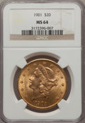 Liberty Double Eagles: , 1901 $20 MS64 NGC. NGC Census: (1399/292). PCGS Population(1431/292). Mintage: 111,400. Numismedia Wsl. Price for problem ...