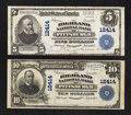 National Bank Notes:Pennsylvania, Pittsburgh, PA - $5 1902 Plain Back Fr. 609 and $10 1902 Plain Back Fr. 635 The Highland NB Ch. # 12414. ... (Total: 2 notes)