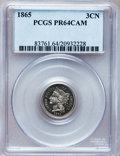 Proof Three Cent Nickels, 1865 3CN PR64 Cameo PCGS....