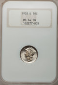 Mercury Dimes, 1928-D 10C MS64 Full Bands NGC....
