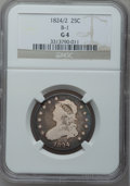 Bust Quarters, 1824/2 25C Good 4 NGC. B-1, R.3....