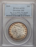 Bust Half Dollars, 1820 50C Square Base No Knob 2, Large Date AU53 PCGS. O-106,R.1....