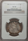 Seated Half Dollars, 1842 50C Small Date, Large Letters AU58 NGC....