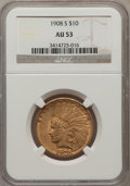 Indian Eagles: , 1908-S $10 AU53 NGC. NGC Census: (66/455). PCGS Population (36/365). Mintage: 59,850. Numismedia Wsl. Price for problem fre...
