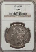 Morgan Dollars: , 1893-S $1 VF25 NGC. NGC Census: (112/869). PCGS Population(311/1673). Mintage: 100,000. Numismedia Wsl. Price for problem ...