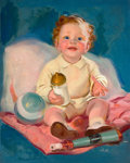 Mainstream Illustration, TED WITHERS (American, 1896-1964). Baby with Bottle. Oil oncanvas. 30 x 24 in.. Signed lower right. ...