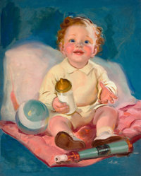 TED WITHERS (American, 1896-1964) Baby with Bottle Oil on canvas 30 x 24 inches (76.2 x 61.0 cm)<