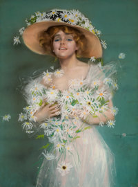 PENRHYN STANLAWS (American, 1887-1957) Lady with Daises Pastel on board 39 x 29 in. Signed low