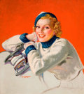 Pin-up and Glamour Art, ELLEN BARBARA SEGNER (American, d. 2001). Pin-Up withSkates. Oil on canvas. 29.5 x 26 in.. Signed lower left. ...